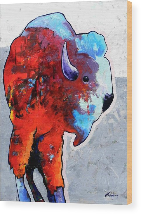 Wildlife Wood Print featuring the painting Rainbow Warrior Bison by Joe Triano