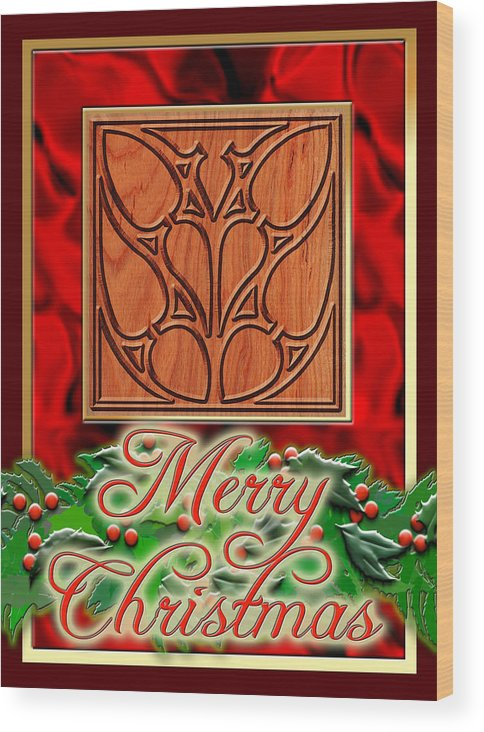 Christmas Wood Print featuring the digital art Red Satin Christmas by Melissa A Benson