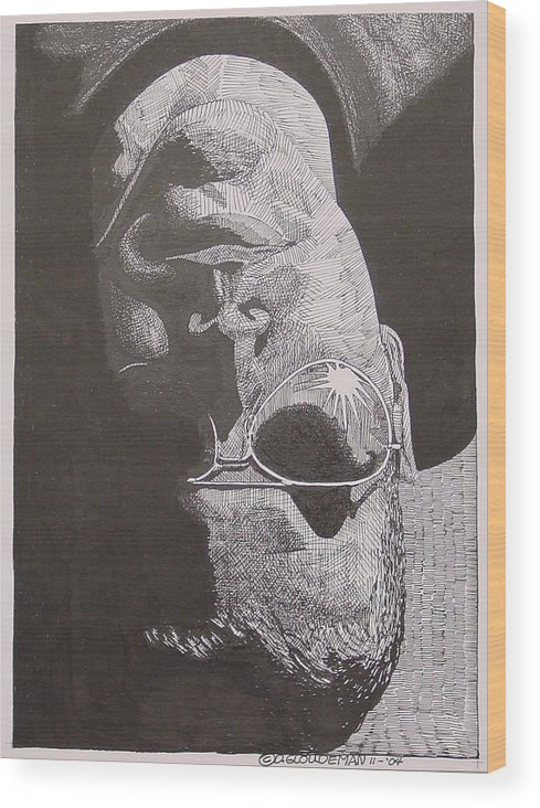 Portraiture Wood Print featuring the drawing Reflection by Denis Gloudeman
