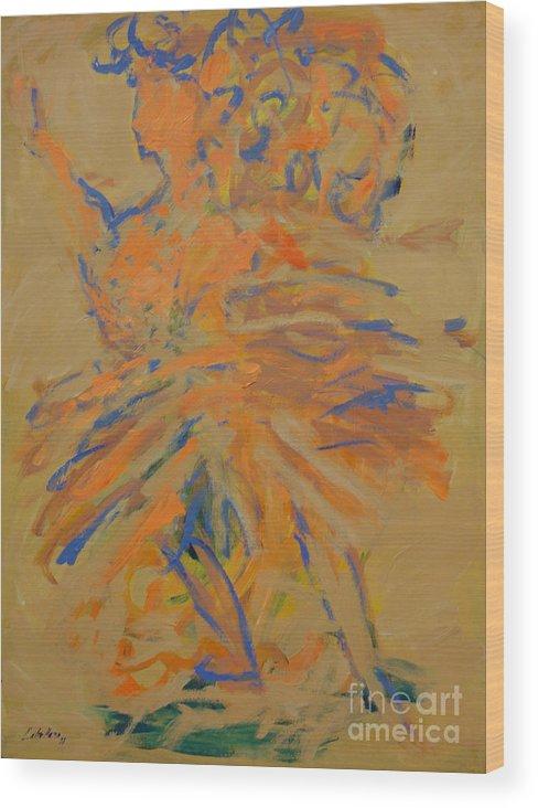 Portraits Wood Print featuring the painting Retrato De Una Bailarina by Monica Caballero