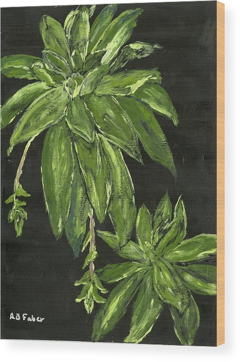 Plant Wood Print featuring the painting Shades Of Green by Alice Faber