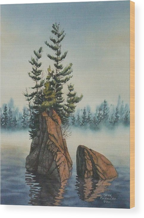 Watercolor Wood Print featuring the painting That Morning Glow by Karen Richardson