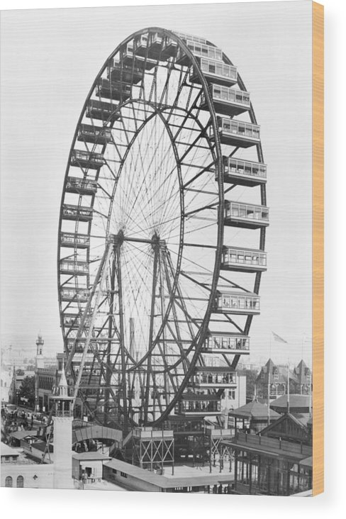 Fairground Wood Print featuring the photograph The Ferris Wheel At The Worlds Columbian Exposition Of 1893 In Chicago Bw Photo by American Photographer