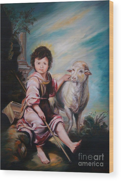 Classic Art Wood Print featuring the painting The Good Shepherd by Silvana Abel