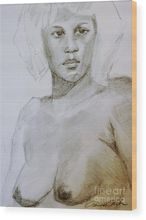 Woman Wood Print featuring the drawing The Model by Tansill Stough