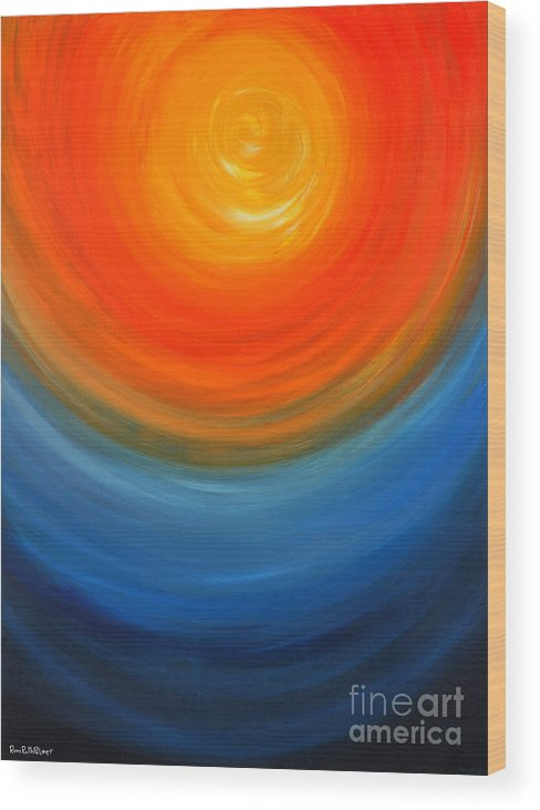 Abstract Wood Print featuring the painting The Sun And The Sea by Roni Ruth Palmer