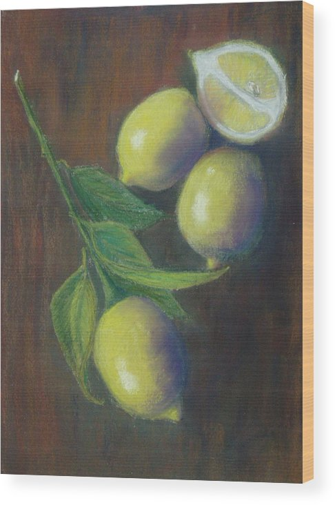 Lemons Wood Print featuring the painting Three And A Half Lemons by Ellen Minter