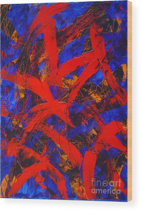Abstract Wood Print featuring the painting Transitions With Blue And Red by Dean Triolo