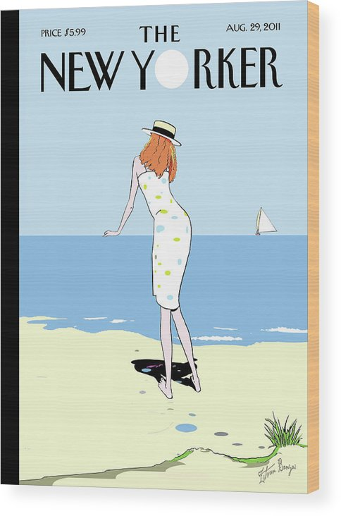 Beach Wood Print featuring the painting New Yorker August 29th, 2011 by Istvan Banyai
