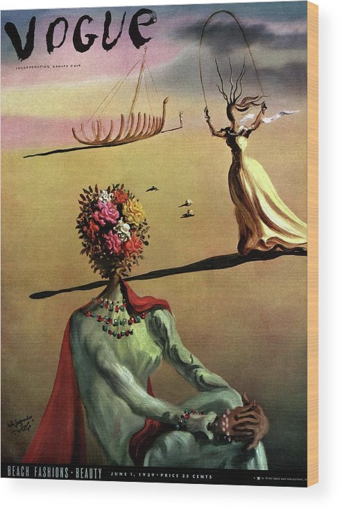 Illustration Wood Print featuring the photograph Vogue Cover Illustration Of A Woman With Flowers by Salvador Dali