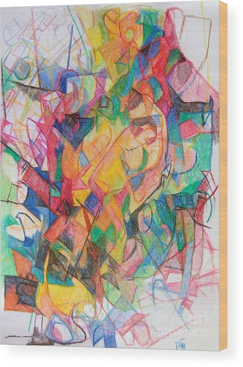 Torah Wood Print featuring the drawing Waiting According To Intuition 1 by David Baruch Wolk