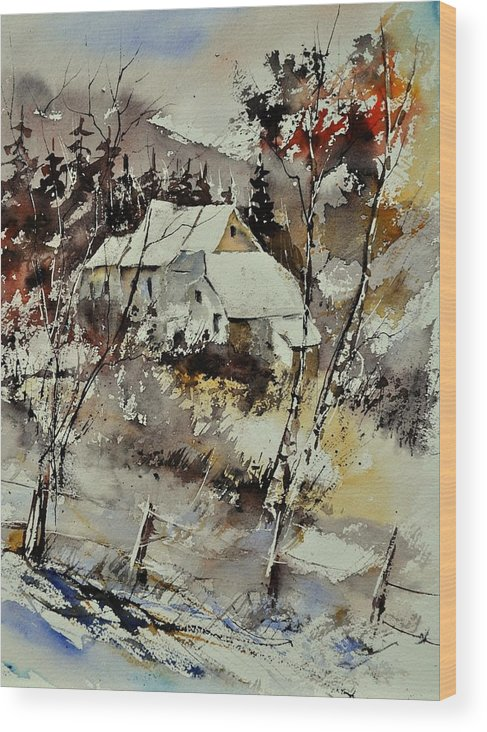 Landscape Wood Print featuring the painting Watercolor 314001 by Pol Ledent