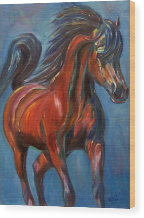 Horse Wood Print featuring the painting Windstalker by Stephanie Allison