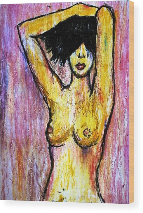 Nude Wood Print featuring the drawing Yellow by Thomas Valentine