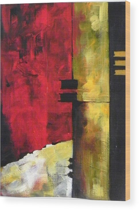 I Created Textures Prior To The Painting. Wood Print featuring the painting Abstract Landscape. by Priya Bendrey