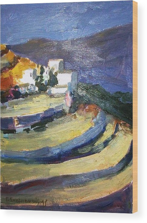 Paros Lefkes .lefkes Paros .greek Islands Paros Wood Print featuring the painting Paros Lefkes by George Siaba