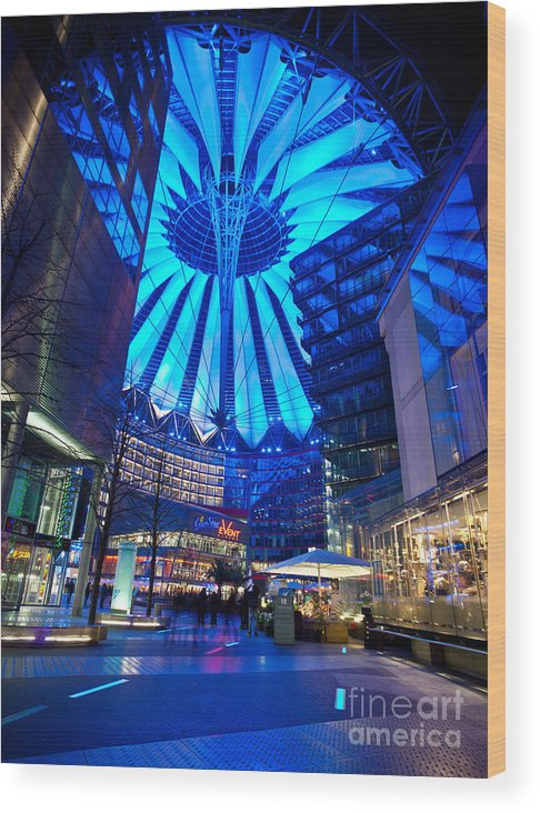 Sony Center Wood Print featuring the photograph Blue Berlin by Mike Reid