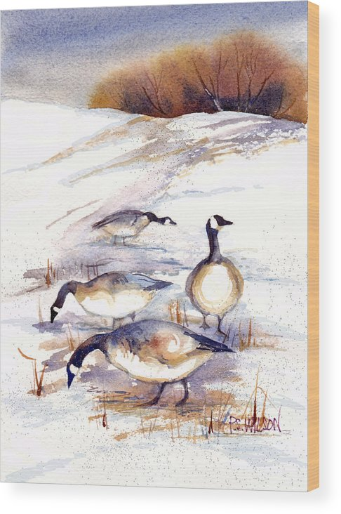 Geese Wood Print featuring the painting Canada Geese In Stubble Field by Peggy Wilson