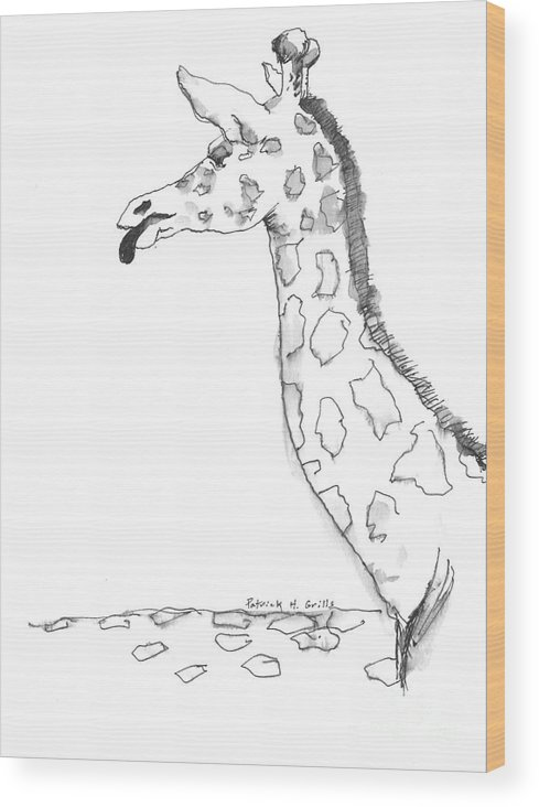 Giraffe Wood Print featuring the painting Caricature Sketch Of A Giraffe by Patrick Grills