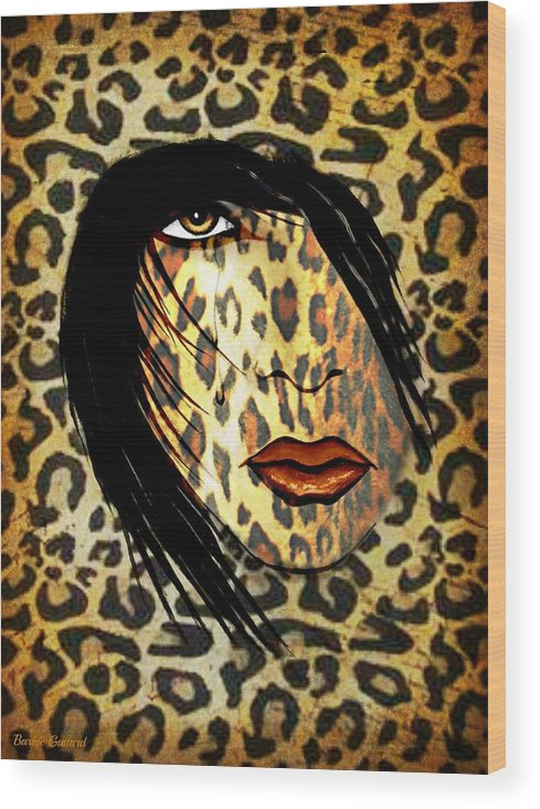 Cat Woman Wood Print featuring the painting Cat Woman by Barbie Guitard