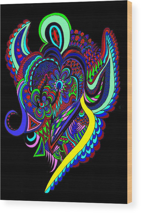 Angels Wood Print featuring the digital art Dark Angel by Karen Elzinga