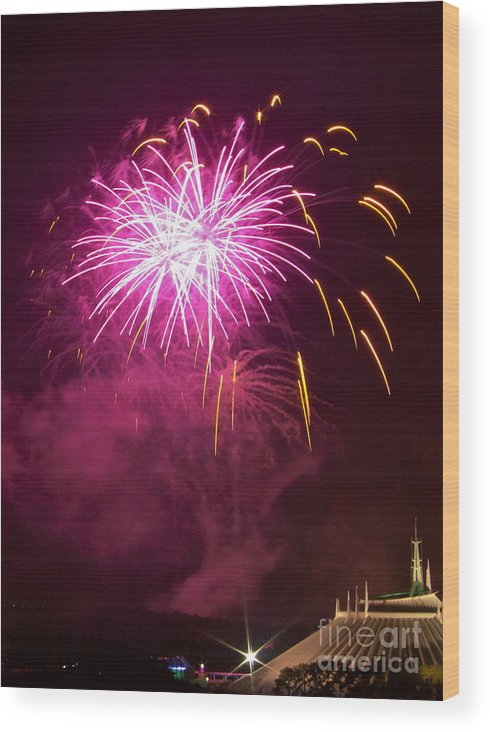 Fireworks Wood Print featuring the photograph Fireworks IIi by Carol Bradley