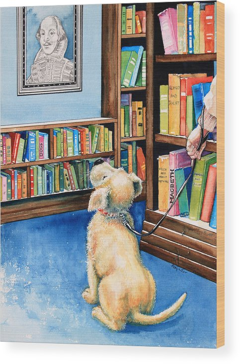 Puppy Wood Print featuring the painting Guide Dog Training by Hanne Lore Koehler