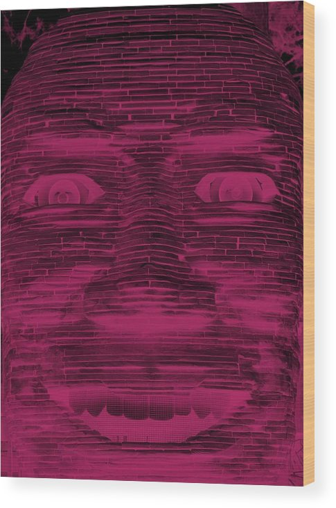 Architecture Wood Print featuring the photograph In Your Face In Negative Hot Pink by Rob Hans