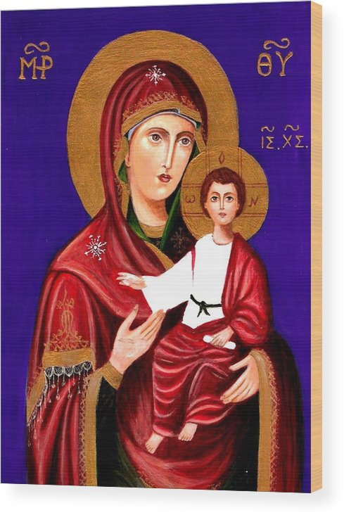 Icons Wood Print featuring the painting Mary And Jesus by Rita Hiotis