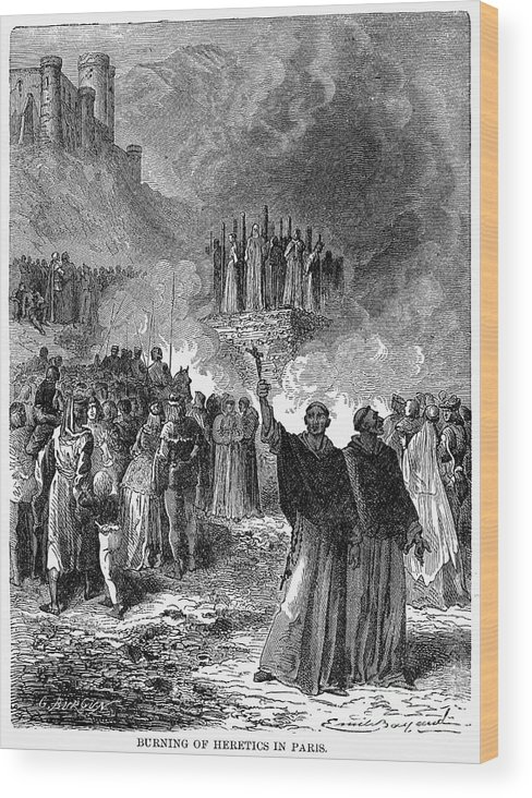 16th Century Wood Print featuring the photograph Paris: Burning Of Heretics by Granger