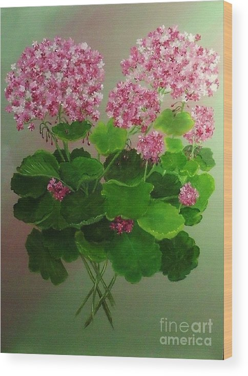 Floral Wood Print featuring the painting Pink Geranium by Peggy Miller