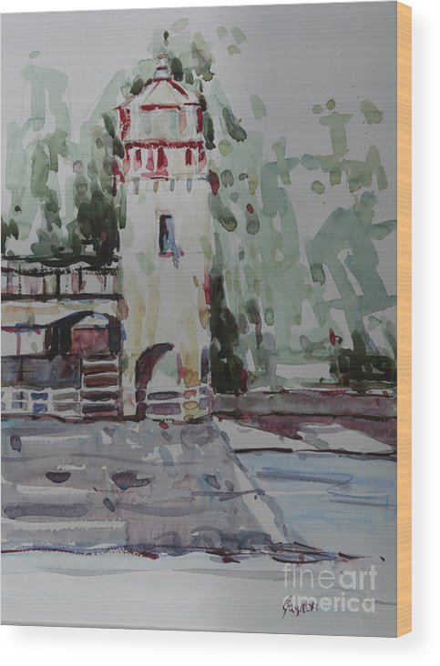 Landscape Wood Print featuring the painting The Lighthouse by Gayatri Vasudevan
