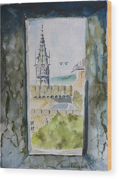 Cardiff Castle Wood Print featuring the painting Through The Eyes Of The Prisoner by Geeta Biswas