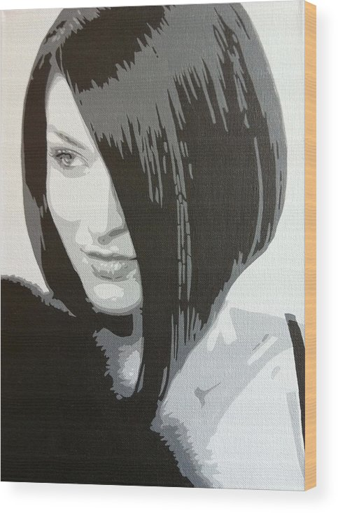 Hair Style Model Wood Print featuring the painting Tony's Hair Salon by Siobhan Bevans