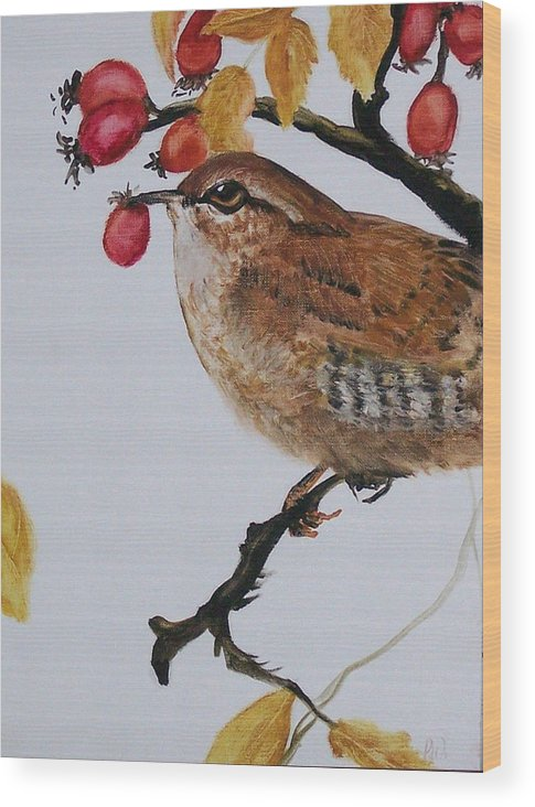 Painting Wood Print featuring the painting  Wren by Pamela Wilson