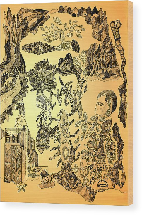 Drawing Wood Print featuring the drawing Ancient Dreams by Eric Devan
