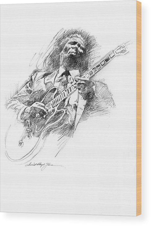 B B King Wood Print featuring the drawing B B King And Lucille by David Lloyd Glover
