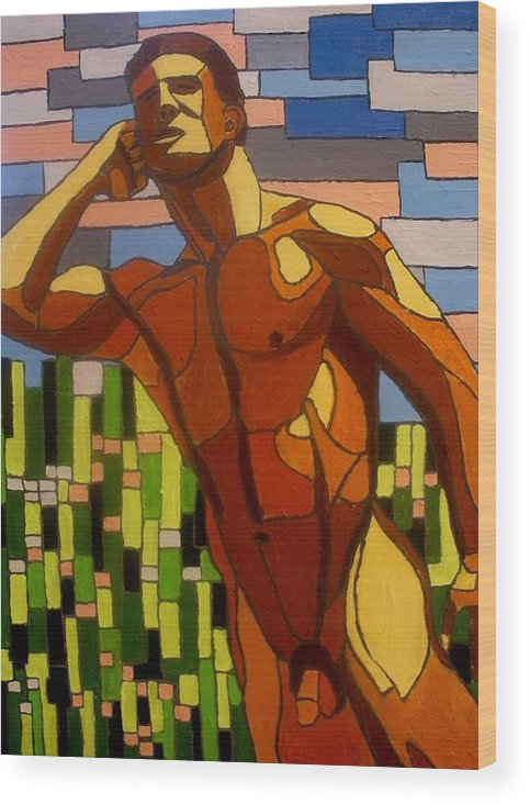 Cubism Wood Print featuring the painting In The Meadow by Mats Eriksson