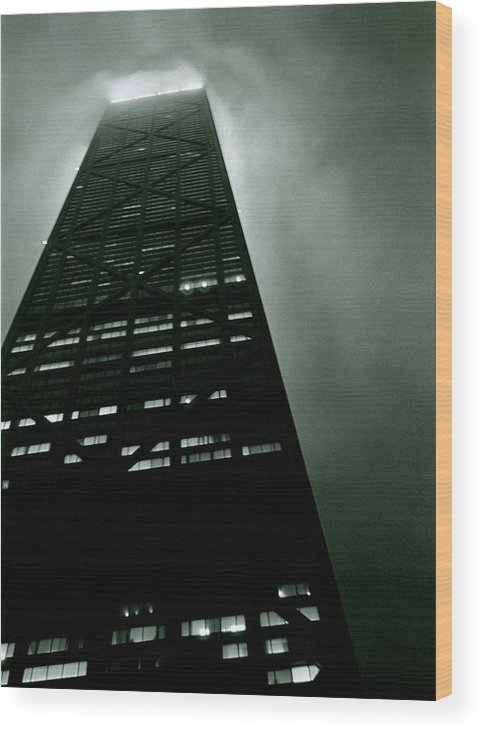Geometric Wood Print featuring the photograph John Hancock Building - Chicago Illinois by Michelle Calkins