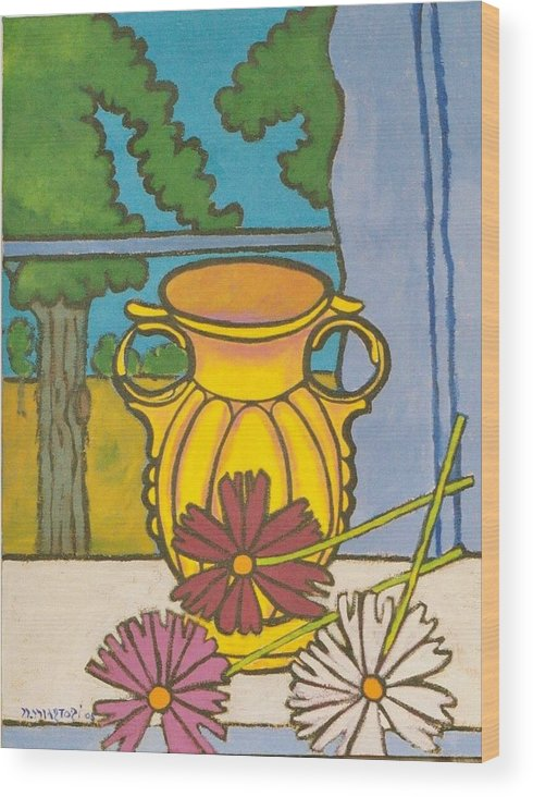 Mccoy Wood Print featuring the painting Mccoy Vase With Cosmos by Nicholas Martori