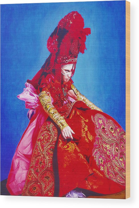 Renaissance Dress Wood Print featuring the painting Red Dress Too by Vlasta Smola