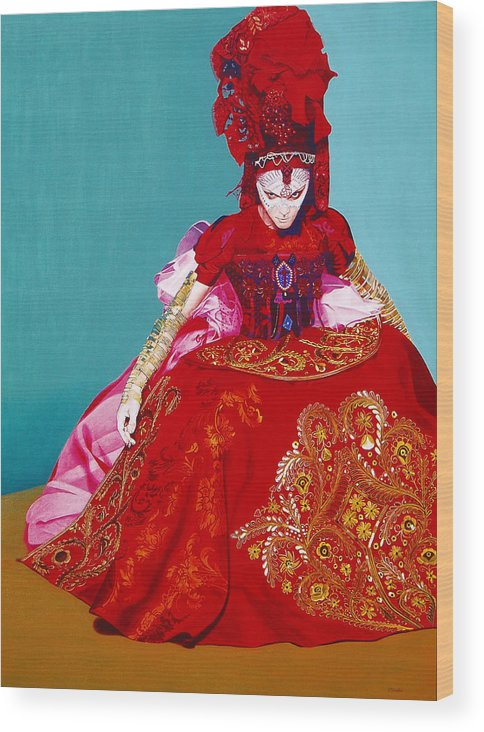 Renaissance Dress Wood Print featuring the painting Red Dress by Vlasta Smola