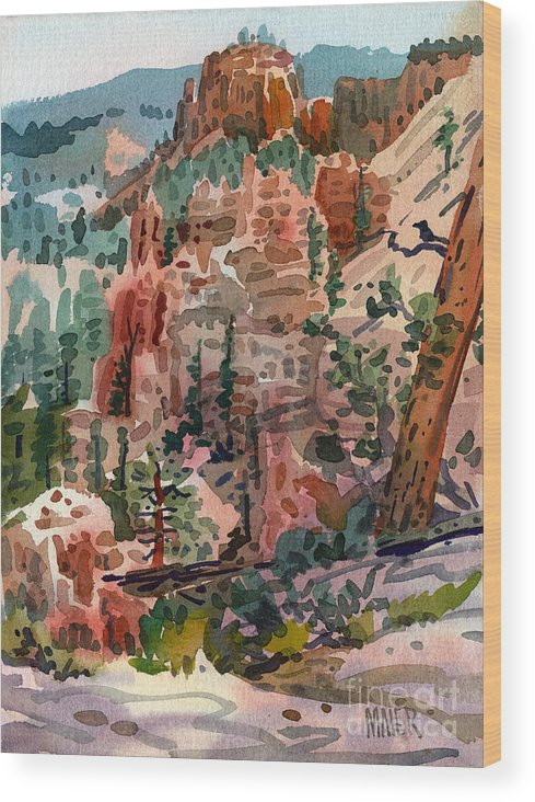 Bryce Canyon Wood Print featuring the painting Skunk Creek Trailhead At Bryce by Donald Maier