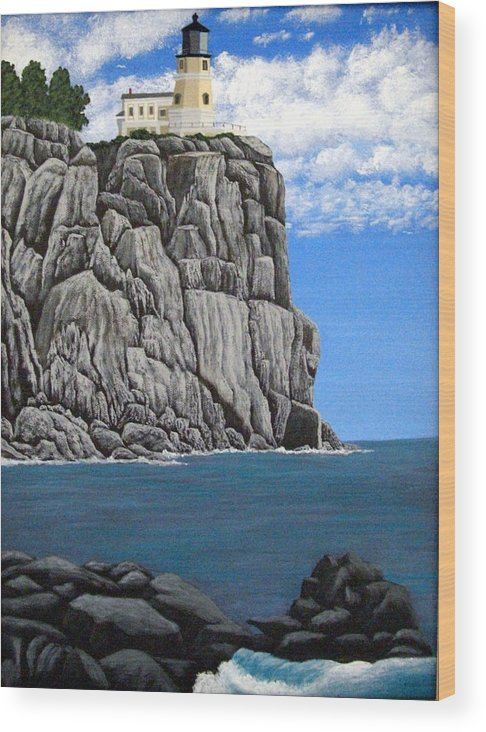 Lighthouse Paintings Wood Print featuring the painting Split Rock Lighthouse by Frederic Kohli