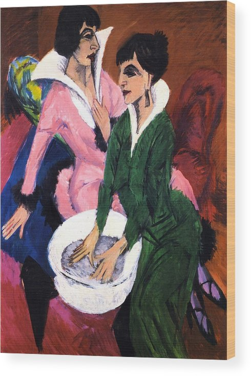 Die Brucke Wood Print featuring the painting Two Women With A Washbasin by Ernst Ludwig Kirchner