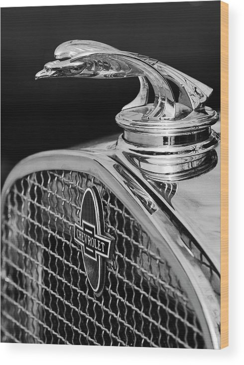 1931 Chevrolet Wood Print featuring the photograph 1931 Chevrolet Hood Ornament 4 by Jill Reger
