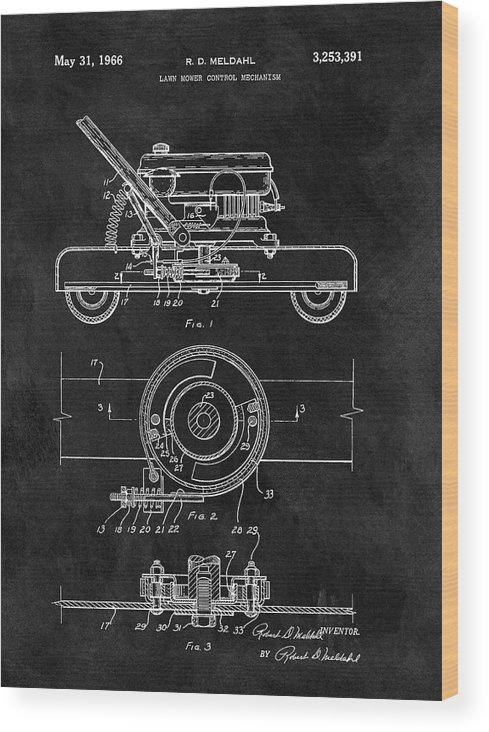 1966 Lawn Mower Patent Wood Print featuring the drawing 1966 Lawn Mower Patent Image by Dan Sproul