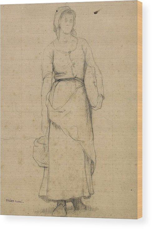 Julien DuprÉ Study Of A Peasant Woman Wood Print featuring the painting Study Of A Peasant Woman by MotionAge Designs