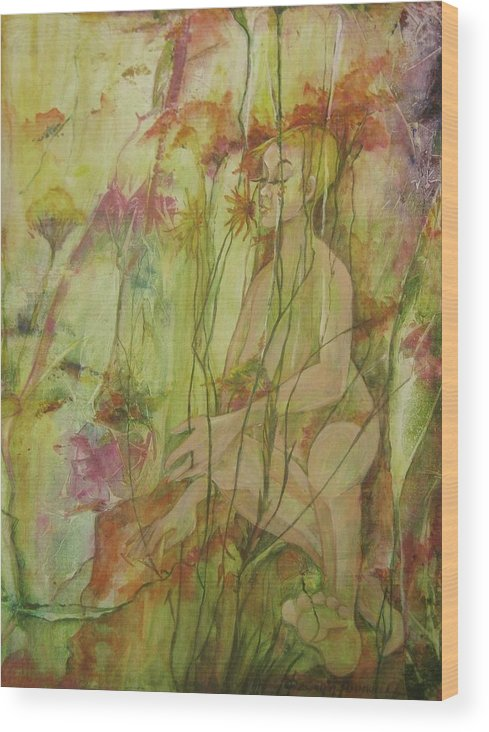 Whimsical Abstracted Painting Of A Lovely Nude Woman Spending The Day In The Flowers. . Part Of Artist Series On Joyful Days. Wood Print featuring the painting A Day In The Flowers by Georgia Annwell