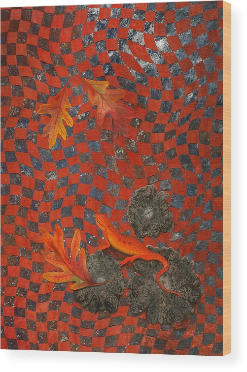 Oak Leave Wood Print featuring the painting A Newt Day by Linda L Doucette